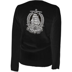 Women's Aesop Originals Ahoy There Matey Cardigan Black Rockabilly Tattoo Anchor