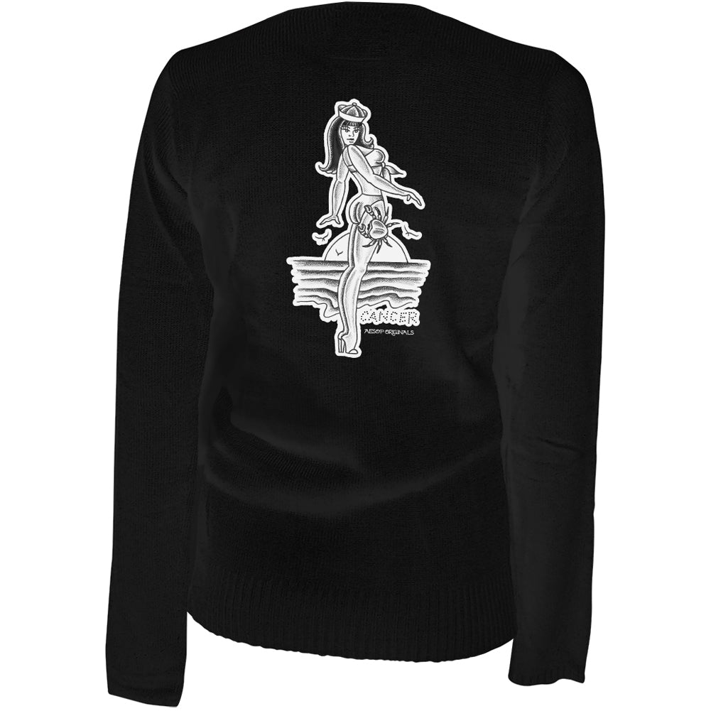 Women's Aesop Originals Cancer - Retro Zodiac Pinup Tattoo Cardigan Black Tattoo