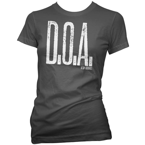 Women's Aesop Originals D.O.A. Dead On Arrival T-Shirt Punk Goth Horror