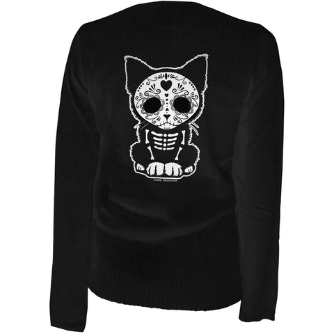 Women's Aesop Originals Day Of The Dead Sugar Skull Kitten Cat Cardigan Black