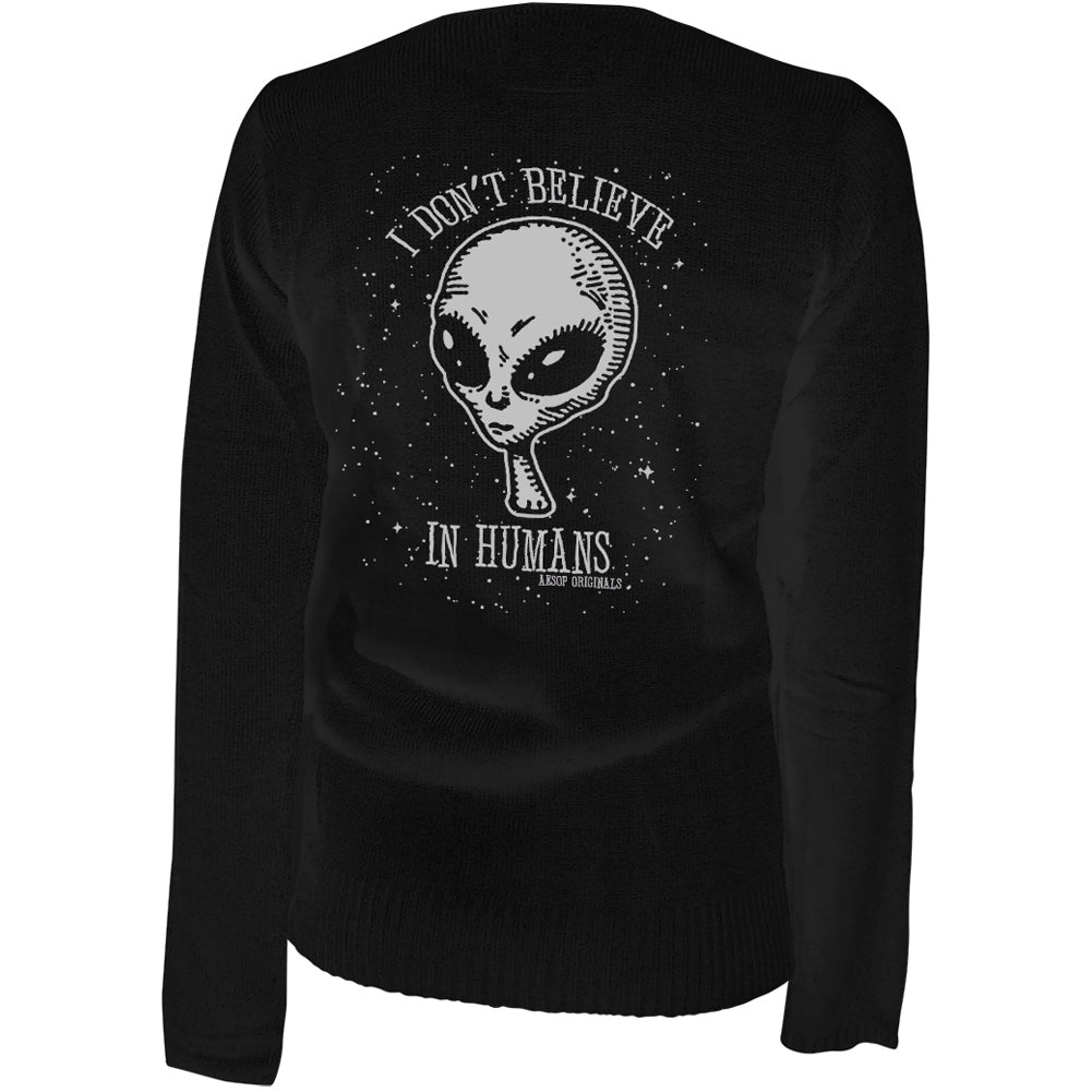 Women's Aesop Originals I don't Believe In Humans Cardigan Black Alien