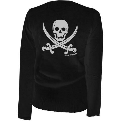 Women's Aesop Originals Jolly Roger Cardigan Black Pirate Skull Swords