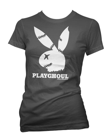 Women's Aesop Originals Playghoul Bunny T-Shirt Zombie Playboy Ghoul Horror