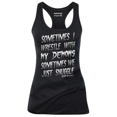Women's Aesop Originals Sometimes I Wrestle With My Demons Tank Top Black Goth