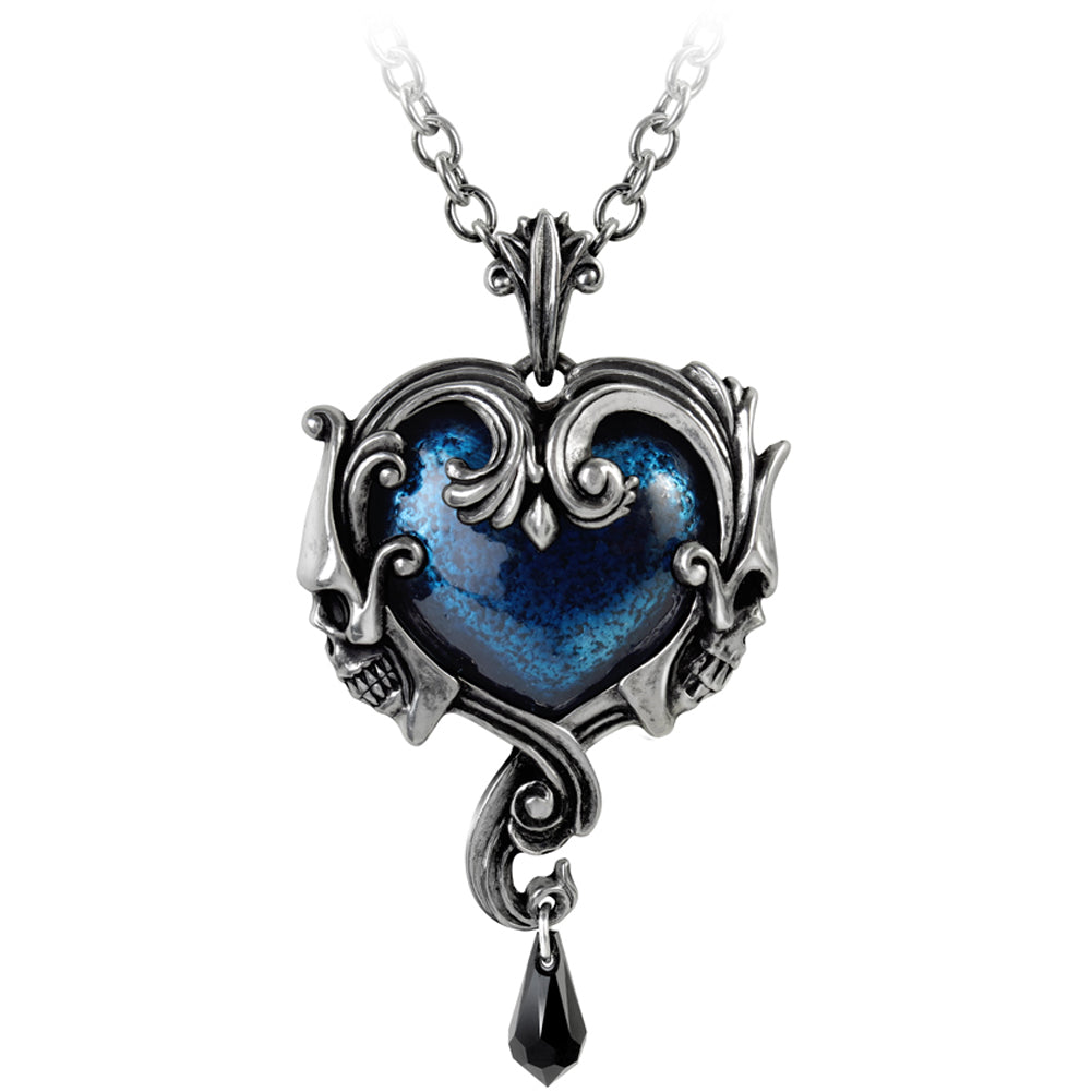 Alchemy of England Affaire du Coeur Pendant Silver/Blue Skulls Filigree Goth