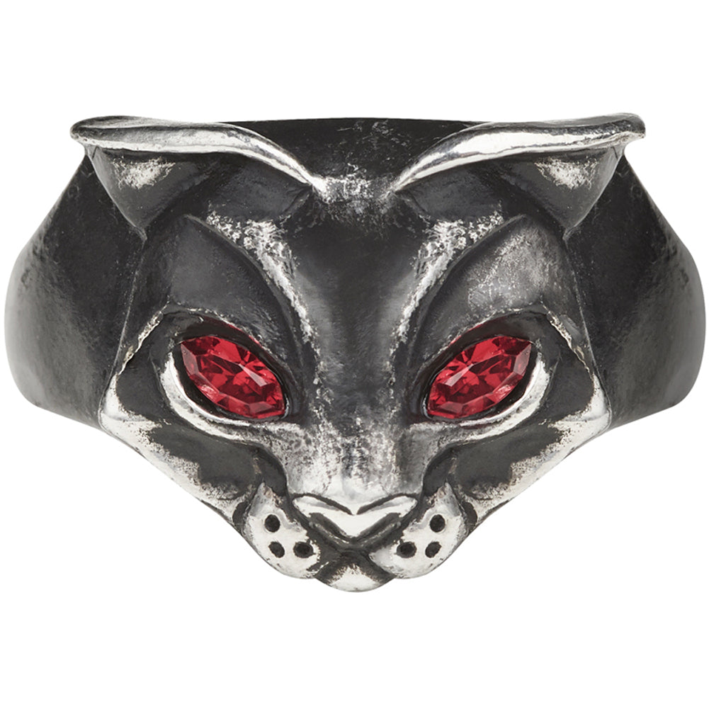 Women's Alchemy of England Bastet Goddess Ring Silver/Red Cat Lover Goth