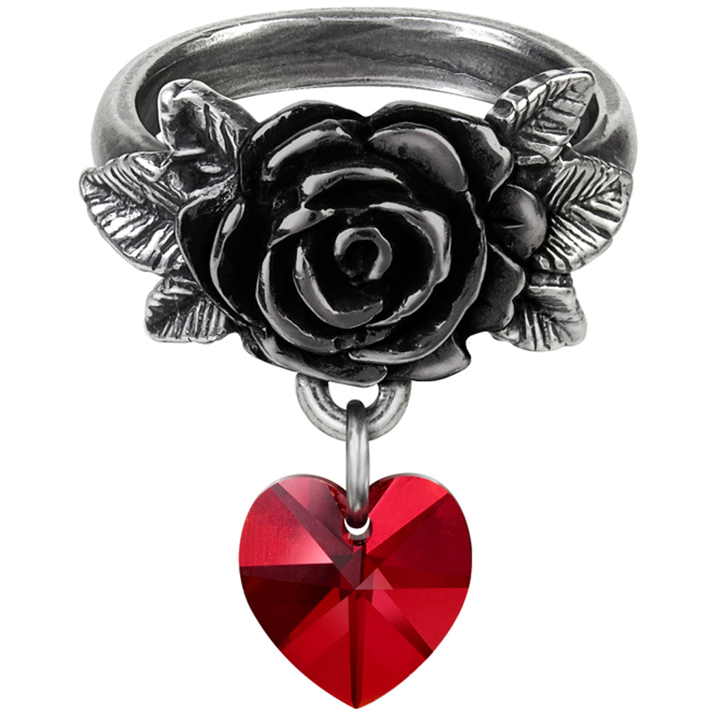 Women's Alchemy of England Cherish Ring Silver/Red Rose Heart Goth