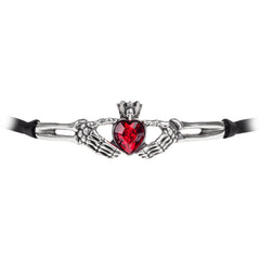 Alchemy of England Claddagh By Night Choker Skeleton Hands Heart Punk Goth