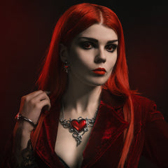 Alchemy of England Devil Heart Généreux Necklace Silver/Red Horns Tail