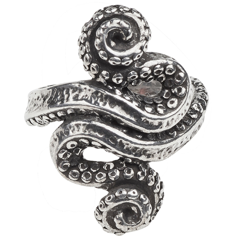 Women's Alchemy of England Kraken Ring Silver Tenticles Nautical