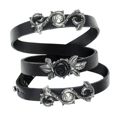 Alchemy of England Rose Of Perfection Wristrap Black/Silver Goth