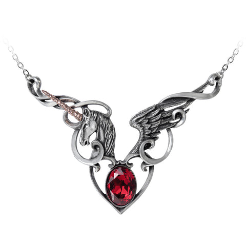 Alchemy of England The Maiden's Conquest Necklace Unicorn Wing Heart Filigree