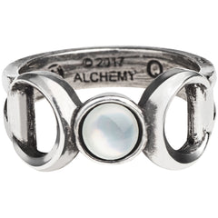 Women's Alchemy of England Triple Goddess Ring Silver Moons Witch Occult Goth