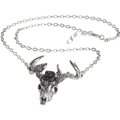 Alchemy of England White Hart Black Rose Pendant Silver/Black Stag Deer Skull