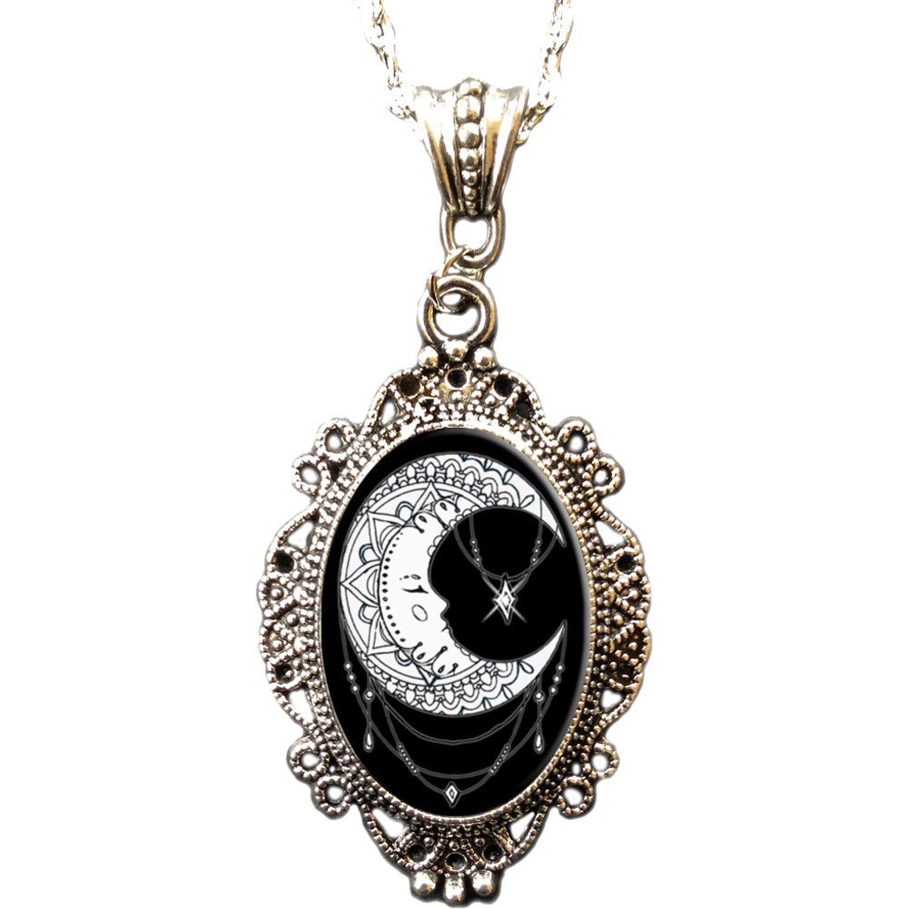 Alkemie & Artistry Moon Cameo Necklace Moon Child Goth Witch