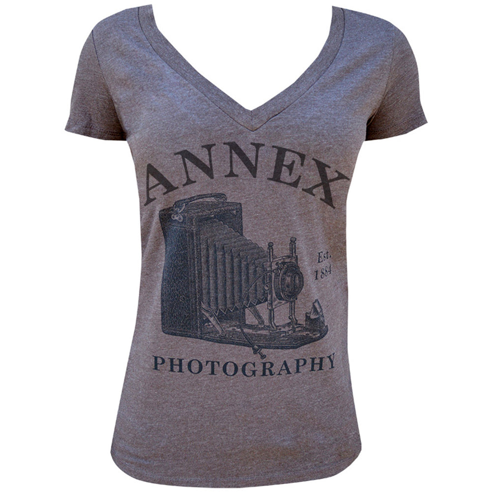 Women's Annex Clothing Photography V-Neck T-Shirt Brown Retro Vintage Camera