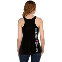 Women's Beautiful Disaster Stronger Racerback Tank Top Black Girly Skull Bow