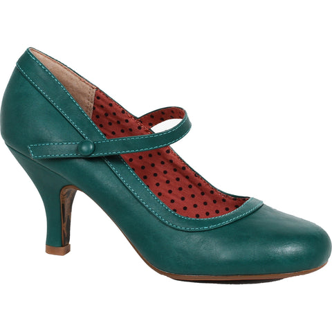 Bettie Page Shoes BETTIE Retro Mary Jane Heel Green Vintage Rockabilly Pin Up