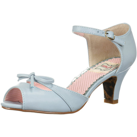 Bettie Page Shoes BP250-TEGAN Peep Toe Sandal With Bow Blue Retro Rockabilly