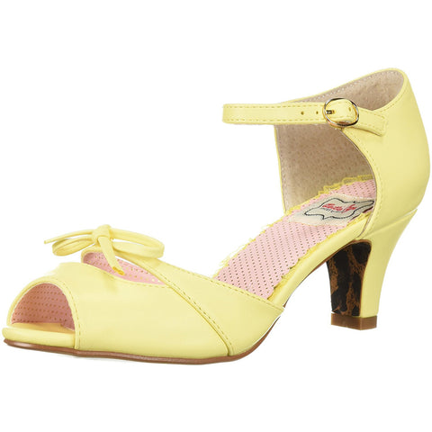 Bettie Page Shoes BP250-TEGAN Peep Toe Sandal With Bow Yellow Retro Rockabilly