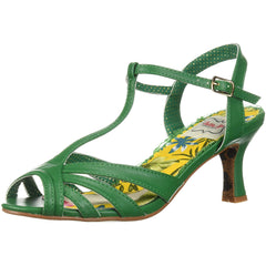 Bettie Page Shoes BP300-LAYLA Peep Toe T Strap Sandal Green Retro Rockabilly