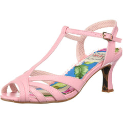 Bettie Page Shoes BP300-LAYLA Peep Toe T Strap Sandal Pink Retro Rockabilly