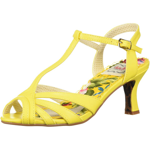 Bettie Page Shoes BP300-LAYLA Peep Toe T Strap Sandal Yellow Retro Rockabilly