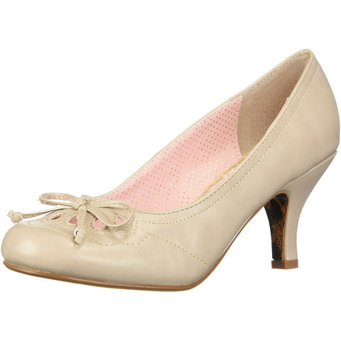 Bettie Page Shoes BP310-RAYNA Cut Out Detail Pump Nude Retro Rockabilly