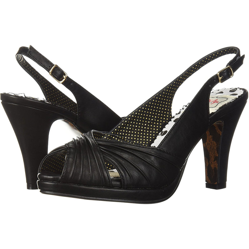 Bettie Page Shoes BP401-SELENE Ruched Peep Toe Sling Back Sandal Black Retro