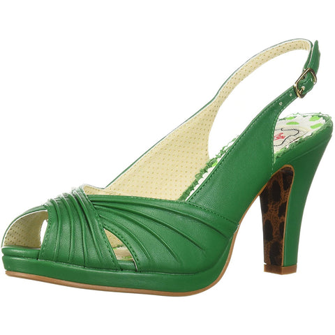 Bettie Page Shoes BP401-SELENE Ruched Peep Toe Sling Back Sandal Green Retro