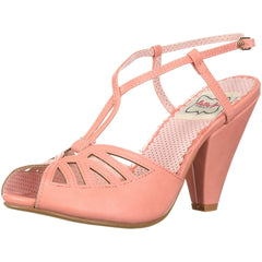 Bettie Page Shoes BP403-ARIA Keyhole Ankle Strap Sandal Peach Retro Rockabilly