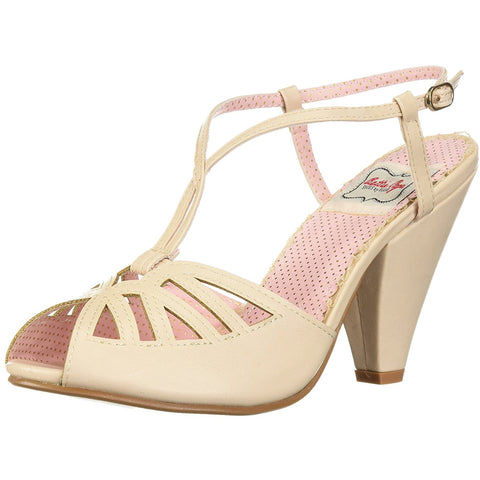 Bettie Page Shoes BP403-ARIA Keyhole Ankle Strap Sandal Nude Retro Rockabilly