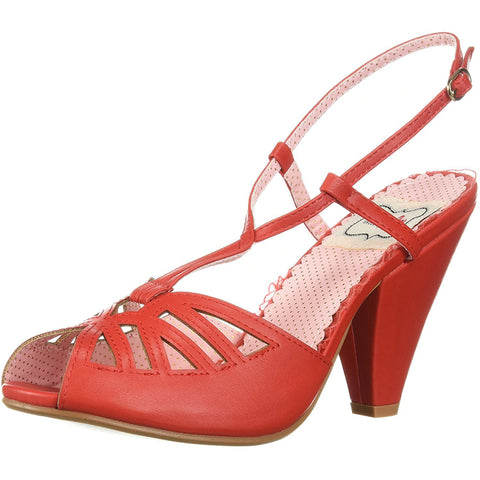 Bettie Page Shoes BP403-ARIA Keyhole Ankle Strap Sandal Red Retro Rockabilly