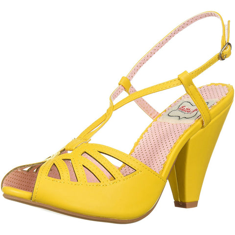 Bettie Page Shoes BP403-ARIA Keyhole Ankle Strap Sandal Yellow Retro Rockabilly