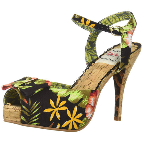 Bettie Page Shoes BP412-LENI Floral Cork Pump Black Retro Rockabilly Vintage