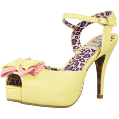 Bettie Page Shoes BP412-VIXEN Peep Toe Boe Detail Pump Yellow Retro Rockabilly