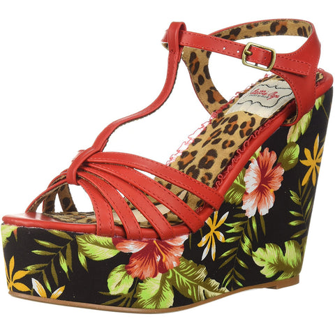 Bettie Page Shoes BP475-MALLORY Tiki Wedge Sandal Red Retro Rockabilly