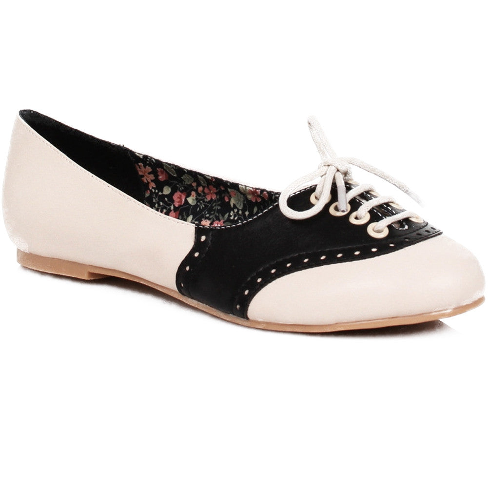 Womens Bettie Page Shoes HALLE Oxford Flat Black Retro Vintage Rockabilly Pin Up