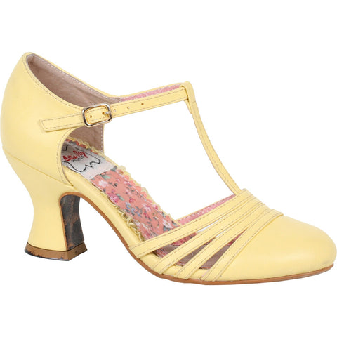 Bettie Page Shoes LUCY T-Strap Heel Yellow Retro Rockabilly Vintage Pin Up