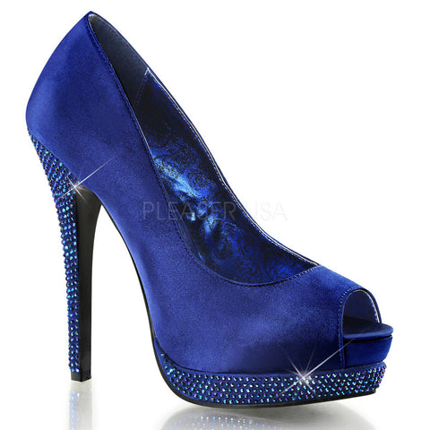 Bordello Bella-12R Platform Rhinestone Satin Pump Royal Blue Peep Toe Heel