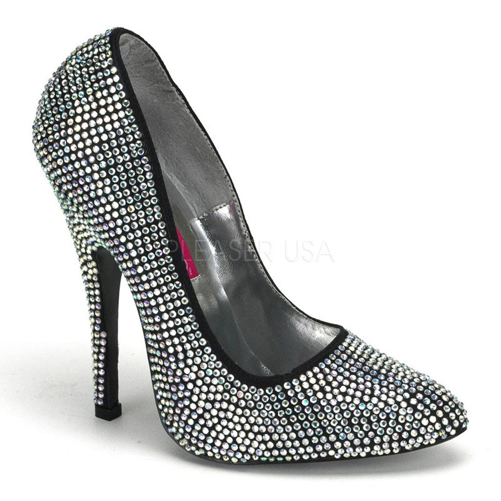 Women's Bordello Scandal-620R Spike Heel Rhinestone Pump Black  Heel
