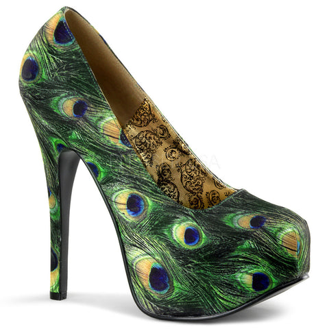 Bordello Teeze-06-5 Hidden Platform Pump Green Peacock Feather Detail Heel