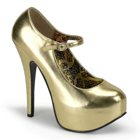 Bordello Teeze-07 Mary Jane Concealed Platform Pump Gold Heel