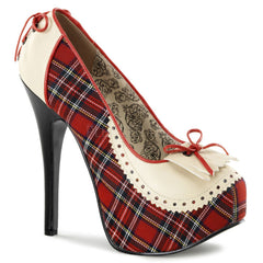 Bordello Teeze-26 Hidden Platform Pump Red Plaid with Corset Lacing