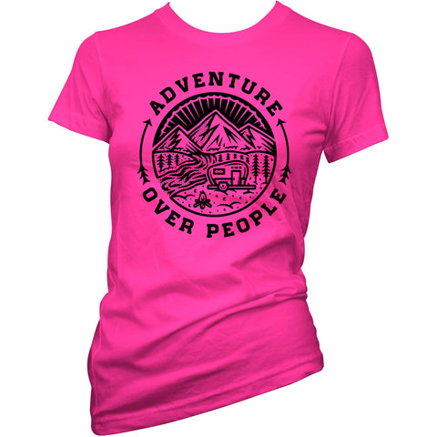 Women's Cartel Ink Adventure Over People T-Shirt Pink Summer Camping