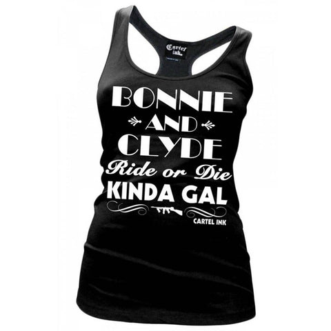 Women's Cartel Ink Bonnie and Clyde Racer Back Tank Top Ride or Die Kinda Gal
