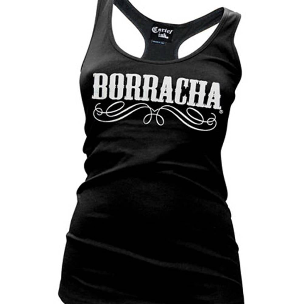 Women's Cartel Ink Borracha Racer Back Tank Top Black Drunk Party