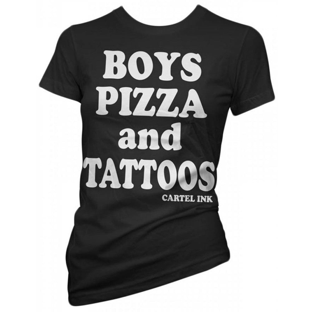 Women's Cartel Ink Boys, Pizza, and Tattoos T-Shirt Ink Inked Tattooed Lifestyle