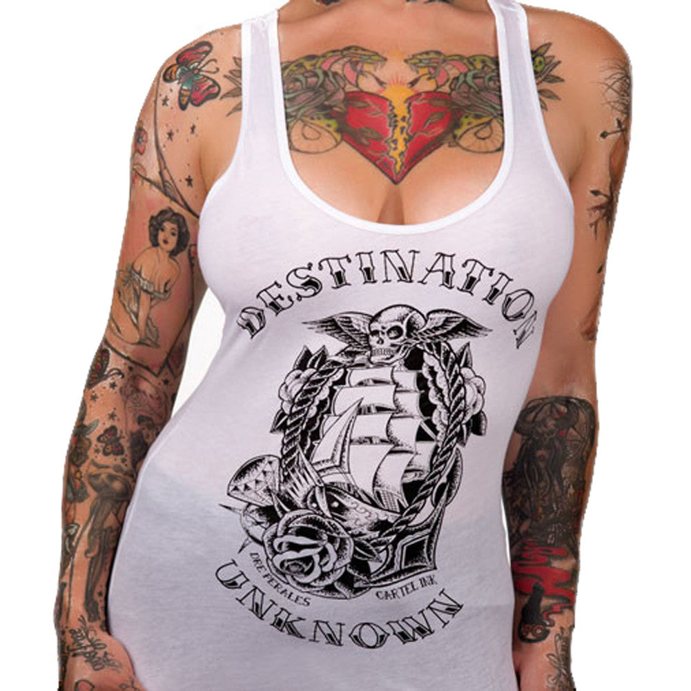 Women's Cartel Ink Destination Unknown Racer Back Tank Top White Tattoo Art