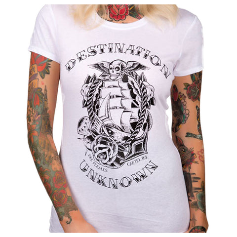 Women's Cartel Ink Destination Unknown T-Shirt White Traditional Nautical Tattoo